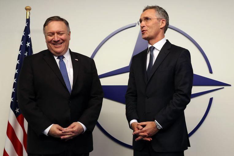 NAVO-secretaris-generaal Jens Stoltenberg ontmoette gisteren Amerikaans buitenlandminister Mike Pompeo in Brussel.