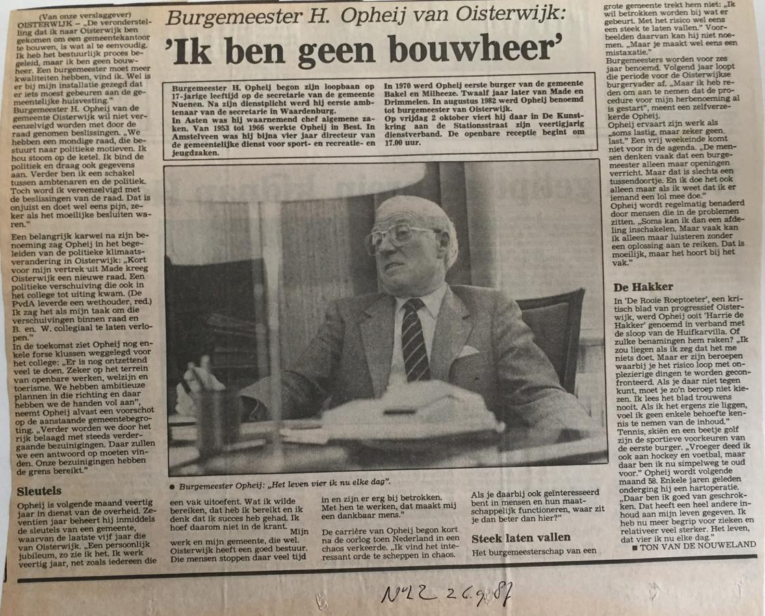 Interview met Harry Opheij in het Nieuwsblad van het Zuiden (1987)