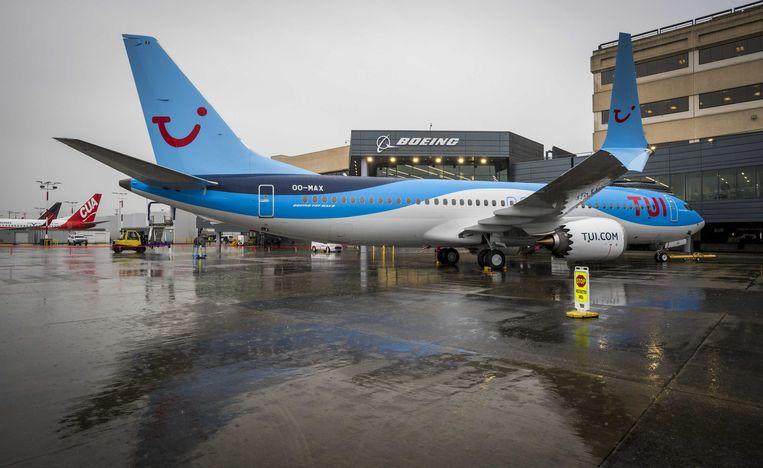 Een nieuwe Boeing 737 MAX 8 van TUI bij de fabriek van Boeing. Beeld ANP