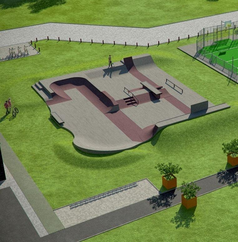 Zo gaat het skatepark eruit zien, met bankjes, trappen en ballustrades zoals in de stad.