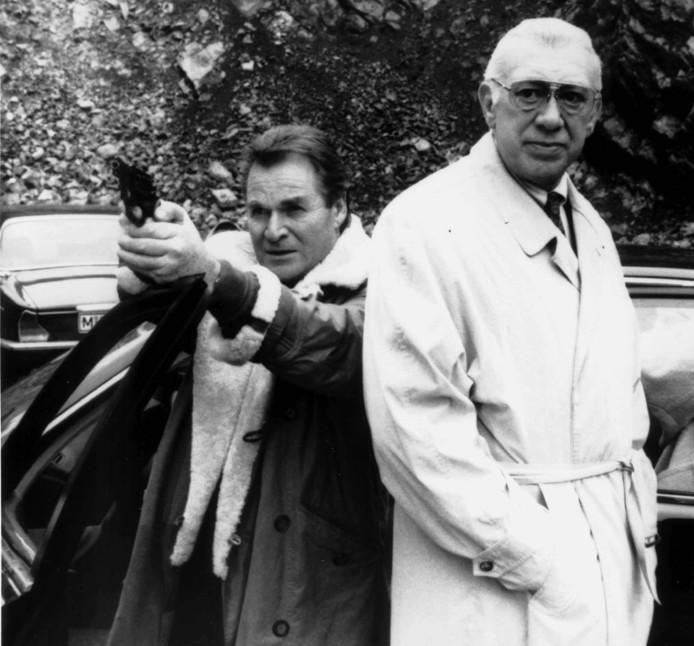 Fritz Wepper (links) als Harry en Horst Tappert als Derrick in de gelijknamige Duitse serie.