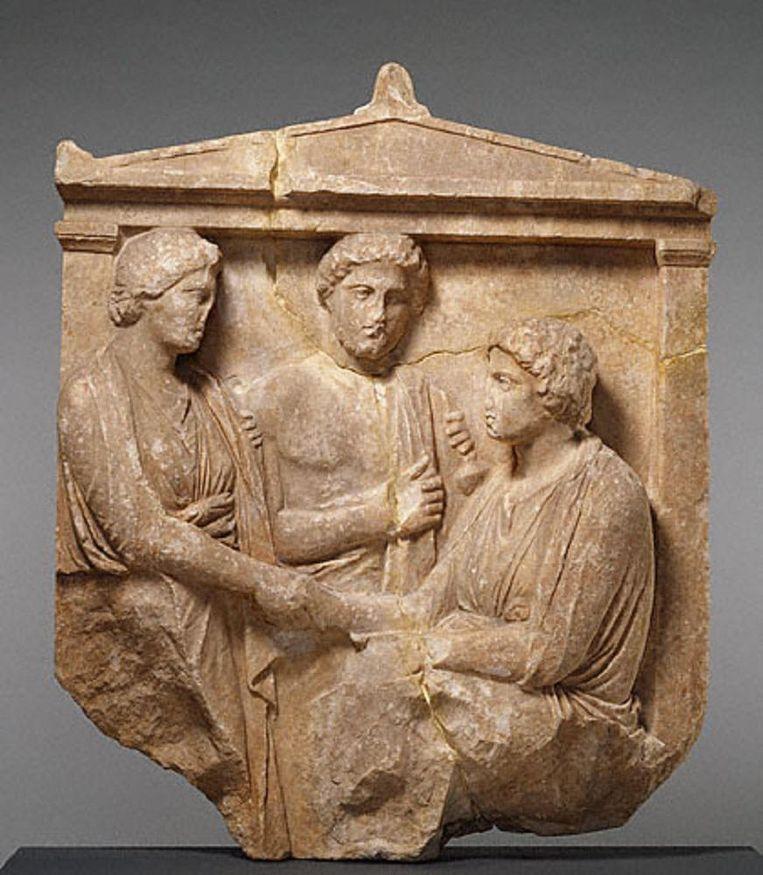 Handdruk op een Grieks graf. Beeld