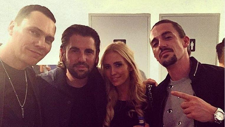Anouk in het gezelschap van Tiësto en Dimitri Vegas & Like Mike.