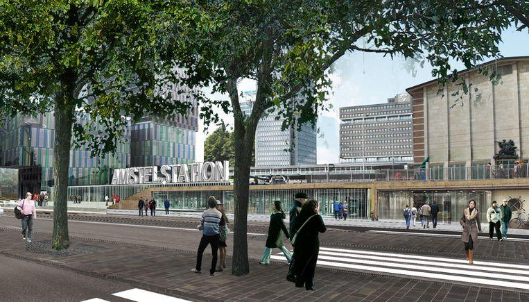 Zo moet het plein voor het Amstelstation worden, zonder de stilte van station Zuid 's avonds. Illustratie projectbureau Wibaut Beeld