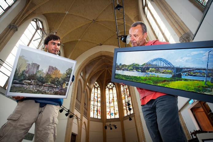 Najb Aslame (links) en Diederik Grootjans exposeren in Notre Dame Des Arts in Ubbergen.