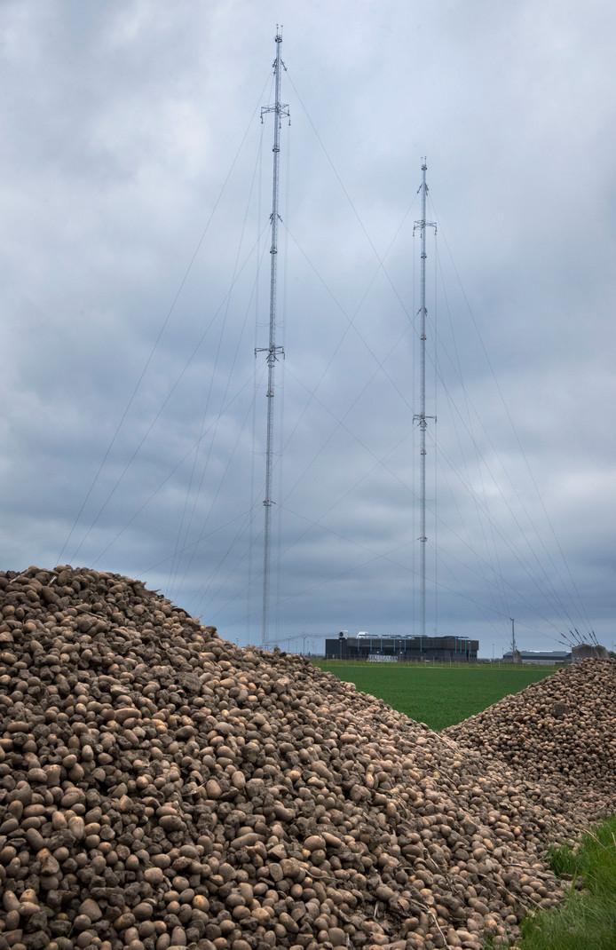 De middengolfinstallatie met z'n 208 meterhoge masten ten noorden van Zeewolde.