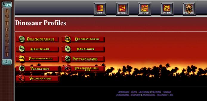 De website van de film 'The Lost World: Jurassic Park' uit 1997.