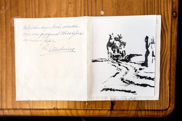 Kerstwens van Wilhelmina aan dominee Lissenberg, met inkttekening van de prinses