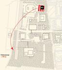 De universiteitscampus van bovenaf. De parkeergelegenheid rechtsboven op de tekening vervalt. Daar komt het nieuwe onderwijsgebouw. Op de locatie linksonder wordt de nieuwe parkeergarage gebouwd.