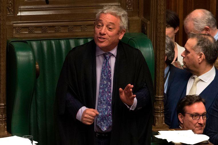 John Bercow, voorzitter van het Lagerhuis, tijdens het debat over nieuwe Brexit-stemmingen. Beeld AFP