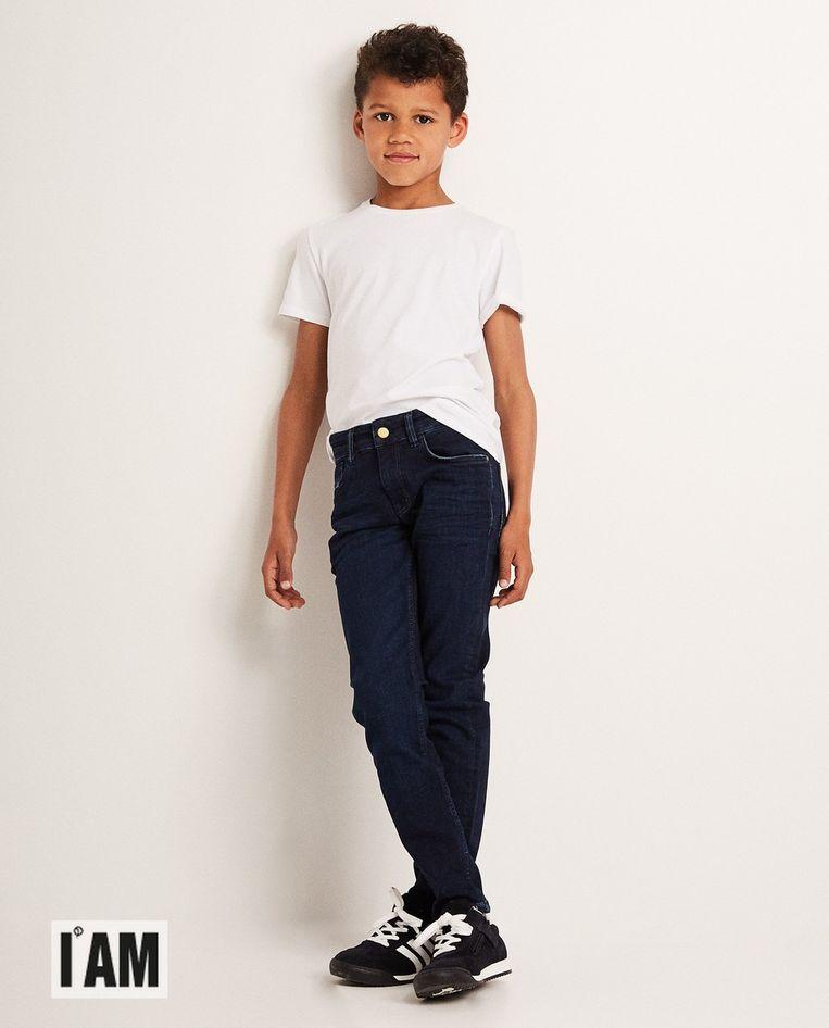 Donkerblauwe skinny I AM met post-consumer waste katoen voor jongens, € 34,99.