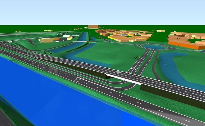 Een visualisatie van het toekomstige kruispunt bij De Brand in Den Bosch.