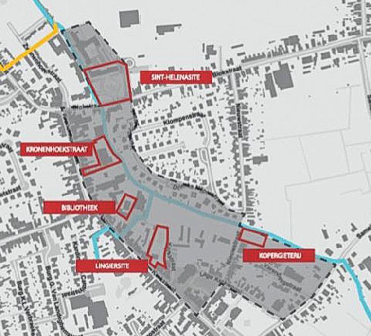In het grijs de hele centrumzone waarvoor de gemeente met een masterplan een ruimtelijke visie wil ontwikkelen, met in het rood de zones waarvoor projectaanvragen lopen.
