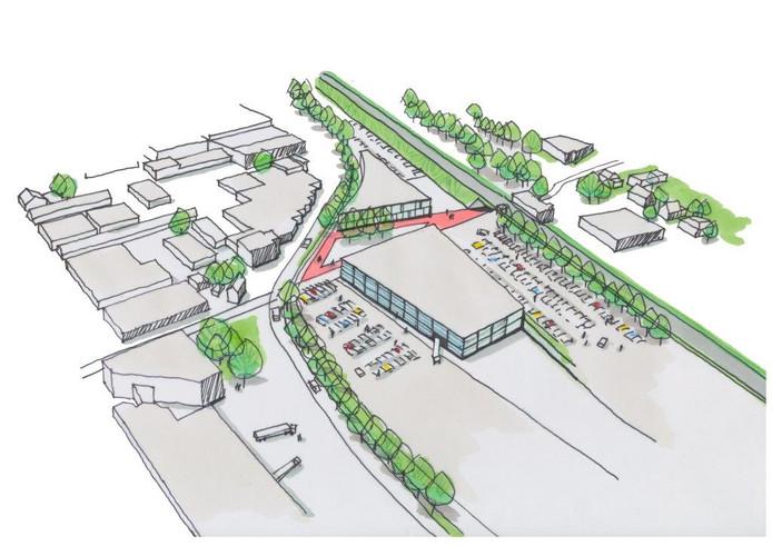 Schets van de toekomstige Spoorzone bij Station Culemborg