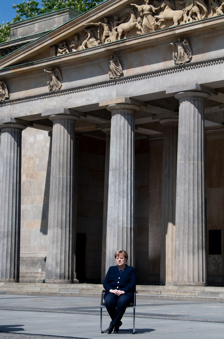 BondskanselierMerkel bij de 75ste herdenking van het einde van de Tweede Wereldoorlog in Berlijn, in mei. Beeld Getty