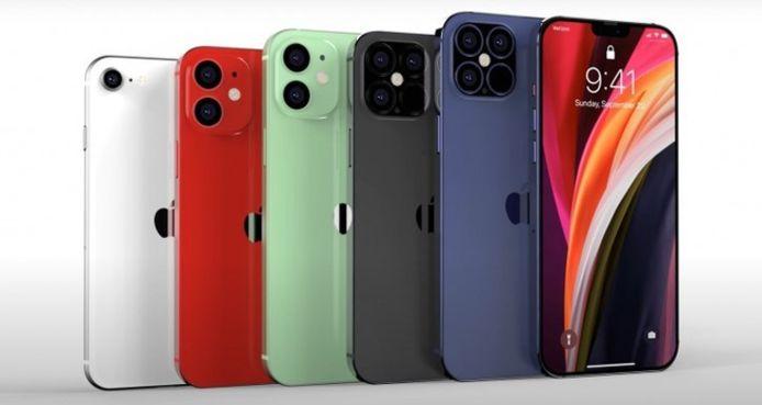 Verschillende kleuren van de iPhone 12.