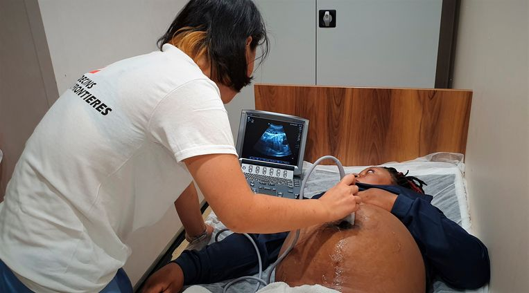 In this photo taken on Monday, Sept. 9, 2019, a pregnant woman undergoes ultrasound aboard a humanitarian ship in the Mediterranean Sea. A humanitarian rescue ship in the Mediterranean Sea has appealed to Italian and Maltese authorities for the medical evacuation of a pregnant woman and a safe place of disembarkation for the 83 other migrants on board. The Norwegian-flagged Ocean Viking, run jointly by SOS Mediterranee and Doctors Without Borders, rescued 50 migrants from a rubber boat on Sunday, including the woman who is 9 months pregnant. (Hannah Wallace Bowman/MSF via AP)