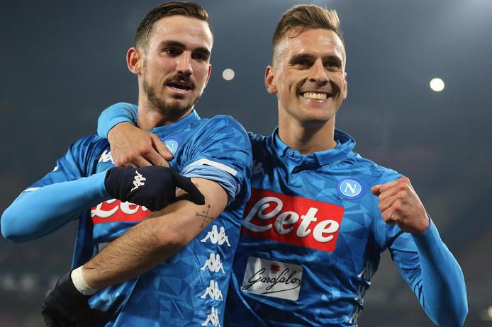 Fabián Ruiz en Arek Milik juichen na de 2-0 voor Napoli.