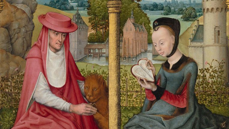 De heilige Hiëronymus en de heilige Catharina van Alexandrië. Brugge of Brussel ca. 1480-1490. Beeld Het Rijksmuseum