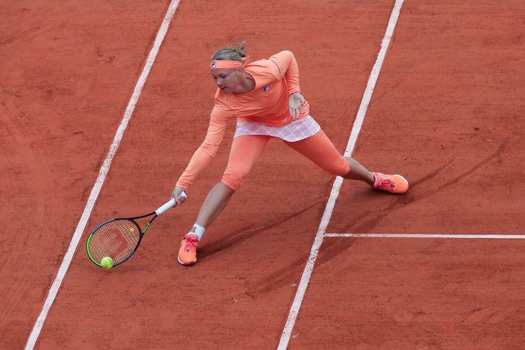 Kiki Bertens tijdens de eerste ronde van Roland Garros tegen de Oekraïense Katarina Zavatska. Beeld AP