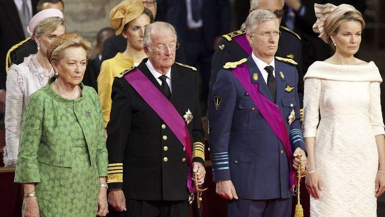V.l.n.r.: Koningin Paola, koning Albert II, prins Filip en prinses Mathilde. Beeld afp