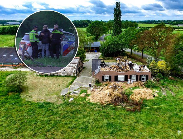 De 'hennepboerderij' in Harfsen brandde compleet af, de huurder werd in de boeien geslagen.