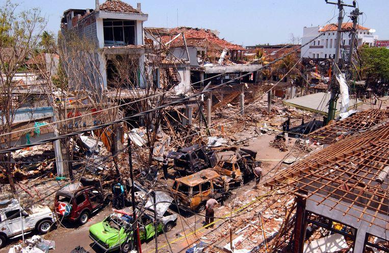 Een door de bomaanslagen getroffen gebied in Bali. Beeld null