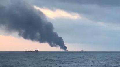 Twee tankers in brand op Zwarte Zee: minstens tien doden