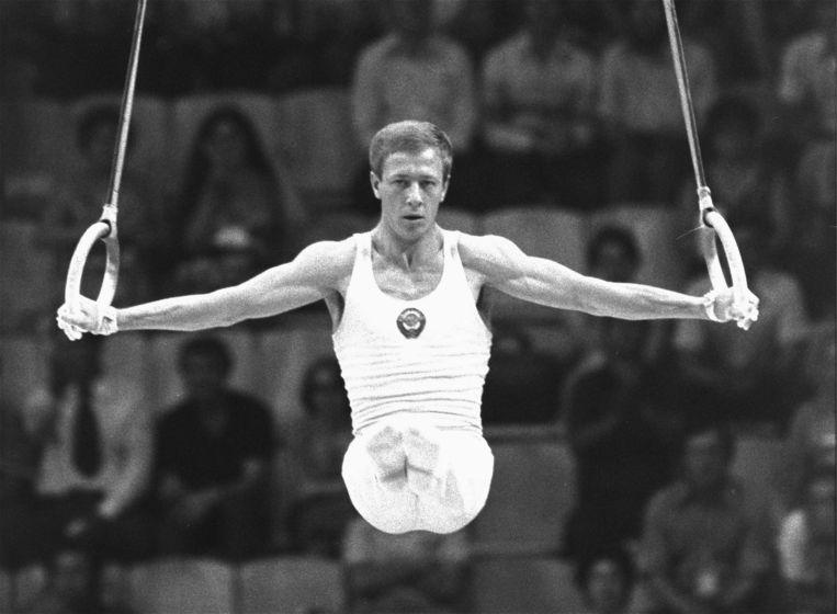 Nikolai Andrianov (Sovjet-Unie) aan het werk tijdens de Spelen van Moskou in 1980.