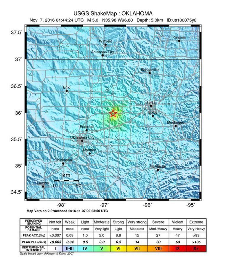 De exacte locatie van de aardbeving van vandaag in Oklahoma. Beeld epa