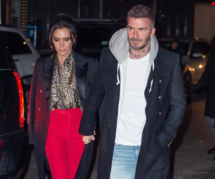 David Beckham met zijn vrouw Victoria in New York gisteren.
