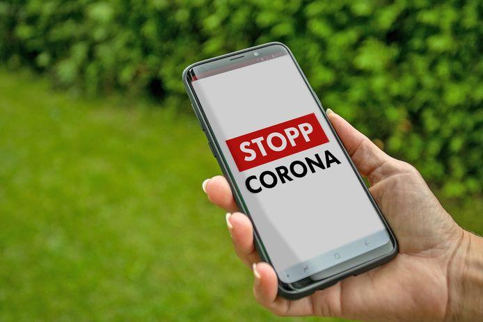 Stopp Corona op de mobiele telefoon.