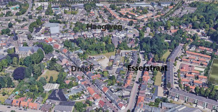 De plaats waar het Bachmanhof in Princenhage moet verrijzen, ingeklemd in de driehoek van Esserstraat, Haagweg en Dreef.