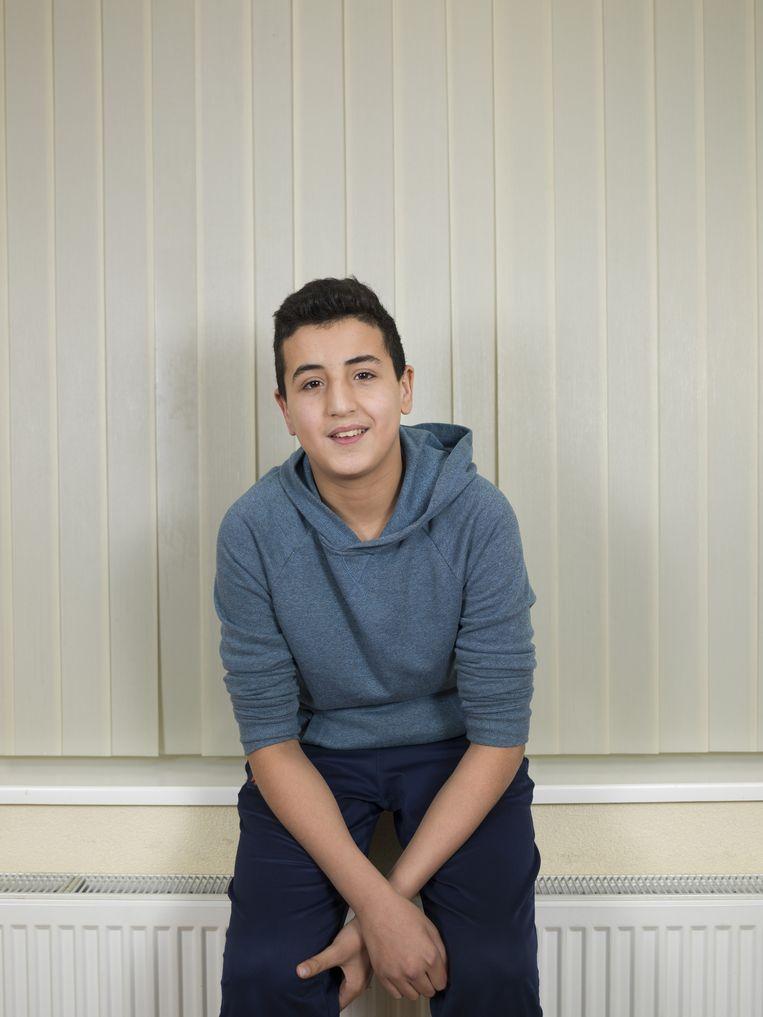 Yassier Ouaddouh, geboren: 24-4-2001. School: mavo 3, hobby's: boksen, voetbal. Gezin: een broer, een zus, een broertje. Moeder is voorlichter, vader is werkzoekend. Beeld Bob van der Vlist