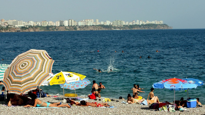 Het strand bij het Turkse Antalya