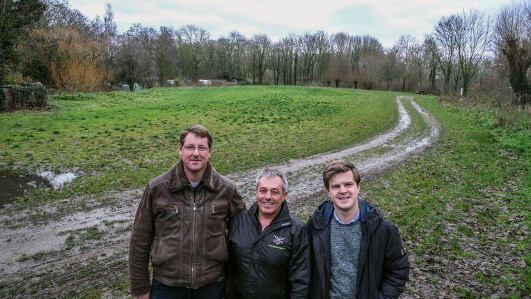 Aan het nu nog lege Hamiltonpark: Jan Van Waetermeulen, Patrick Thijs en Tibo Bouckaert van de organisatie van Frietrock.