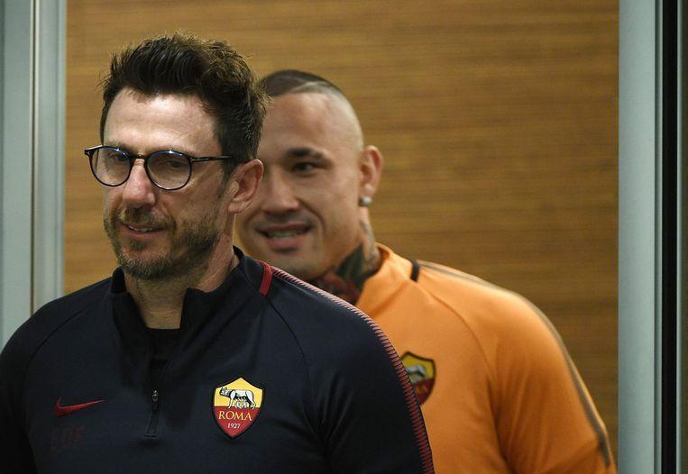 Nainggolan vandaag op de persconferentie in het zog van zijn trainer Di Francesco.