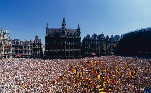 In 1986 liep de Grote Markt in Brussel ook al eens vol voor een feestelijke ontvangst van de Rode Duivels. Toen had de nationale ploeg op het WK in Mexico de halve finales gehaald.