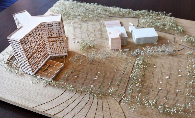 De maquette toont het nieuwe ziekenhuis op de site Sint-Jozef. Van het huidige blijft alleen het roze gebouwtje in het midden over.