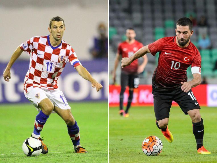 Srna en Turan, captains van Kroatië en Turkije. Beeld reuters