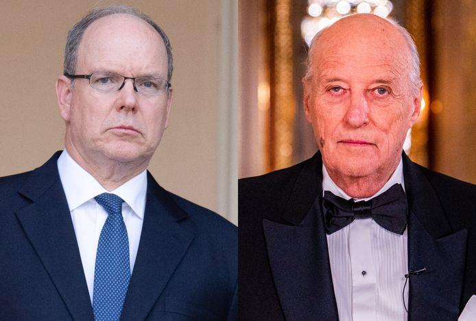 Prins Albert van Monaco (links) en de Noorse koning Harald.