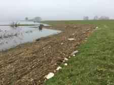 Wat een bende langs de rivieren: drijfvuil dankzij hoogwater, waterschap ruimt op