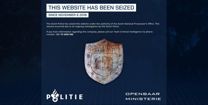 Wie de website van Blackbox Security bezoekt, ziet dat die uit de lucht is gehaald door de politie en het Openbaar Ministerie.