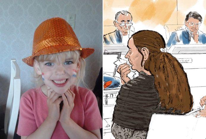 Sharleyne, met rechts een illustratie van haar moeder voor het gerechtshof in Leeuwarden