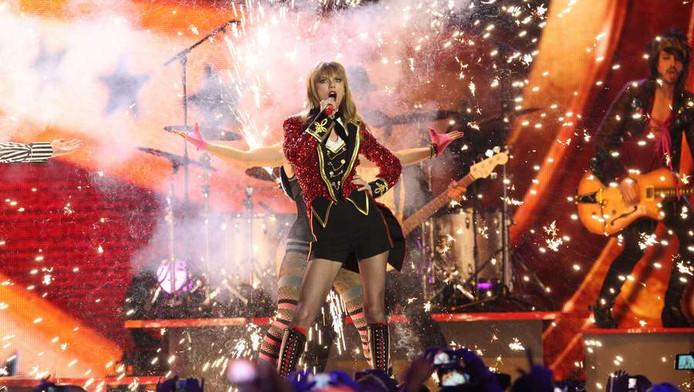 De Amerikaanse zangeres Taylor Swift op de MTV Awards in Frankfurt, in november 2012.