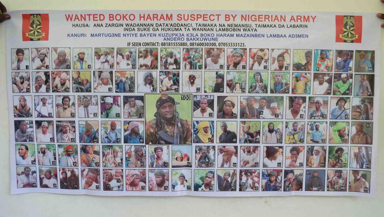 Een poster met gezochte leden van de terreurgroep Boko Haram. Beeld ap