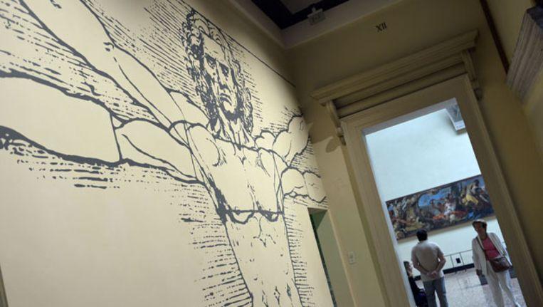 Liefhebbers bezoeken een tentoonstelling met tekeningen van Da Vinci in Venetie. Lang werd gedacht dat hij ook slechts een tekening had gemaakt van de edelvrouw Isabella d'Este. Beeld AFP