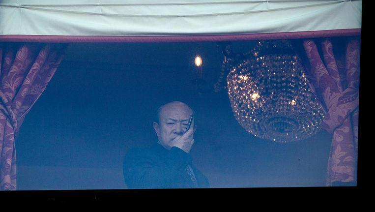 Hui Wang, eigenaar van ADO Den Haag, tijdens een gesprek in het Kyocera stadion. Beeld anp