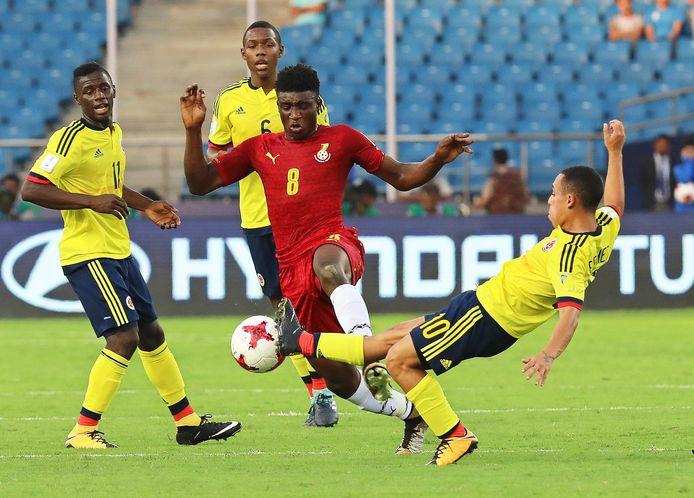 Mohammed Kudus (midden) in actie voor Ghana Onder 17.
