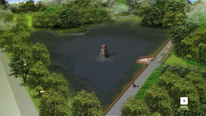 De fontein in het Blokkenpark in Nijverdal is een kunstwerk, dat een hommage vormt aan het textielverleden van het dorp.